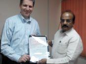 Mr. Kamalakar Babu, the Chairman and Managing director of NREDCAP with Mr. Doug Peterson, CEO of VayuGrid